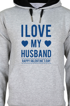 Love My Husband Valentine's Day Blue Print Gray Hoodie