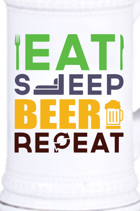 Eat & Sleep Beer Vintage Beer Mug