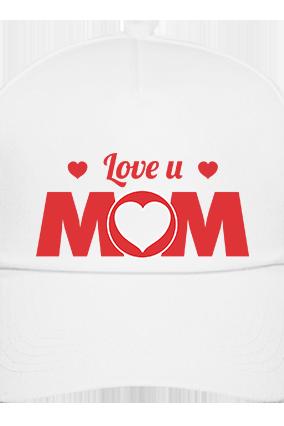 I Love Mom White Cap with Name