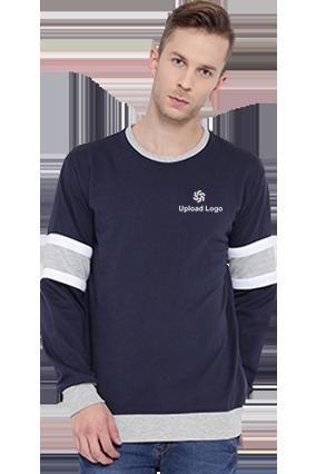 Promotional Upload Logo  Sweatshirt (Navy Blue & Grey)