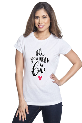 All You Need is Love White Round Neck Drifit Dot Net Sports Half Sleeve Girls T-Shirt