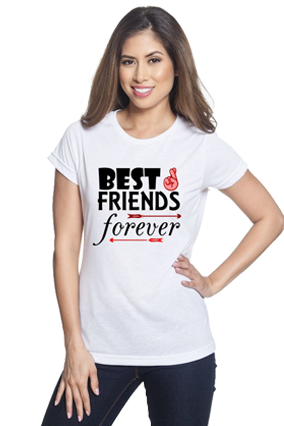 Best Friends Forever White Round Neck Drifit Dot Net Sports Half Sleeve Girls T-Shirt