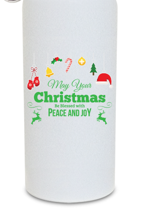 Christmas Greetings 600ml White Sipper