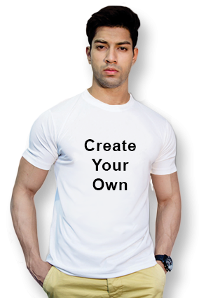 160GSM - Create Your Own White Round-Neck Dry-Fit T-Shirt