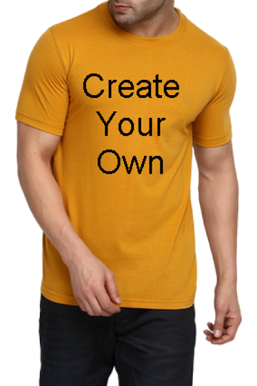 100 GSM Create Your Own Yellow Round-Neck Dry-Fit T-Shirt