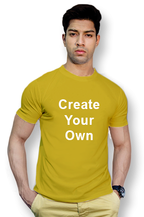 90GSM - Create Your Own Yellow Round-Neck Dry-Fit T-Shirt