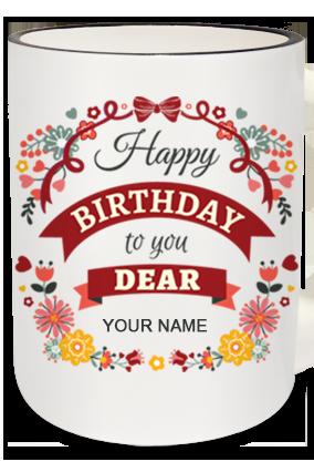 Birthday Dear Zebra Handle Mug